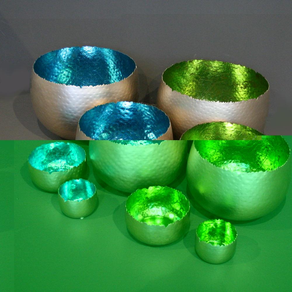wohnzimmer grün türkis:Details zu Windlicht Metallic türkis und grün,Teelichth alter,Schale